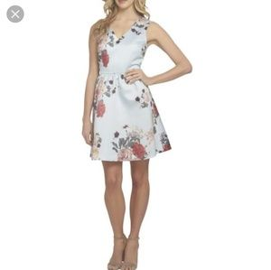 CeCe  Light blue rose print dress size 2